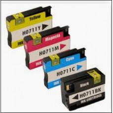 HP711C Cyan With  chip shows XL ink level  compatible HP Designjet: T120, T520