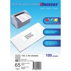 Unistat Laser/Inkjet/Copier 65Up 38.1 X 21.2 38965 Labels - 6500 Labels