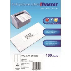 Unistat Copier/Laser 4 Up Label 105X147 (38930) - 400 Labels