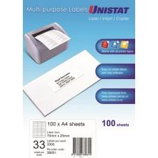 Unistat Copier/Laser 33 Up Label 70X25 (38931) -3300 Labels