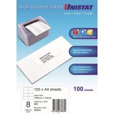 Unistat Copier/Laser Label Dl08 105X74 (38934) - 800 Labels