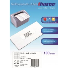 Unistat Copier/Laser Label 30 Up 64X25 (38935) -3000 Labels