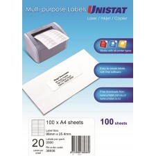 Unistat Copier/Laser Label 98X25 (38936) 20 Up - 2000 Labels