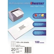 Unistat Copier/Laser Label 98X25 (38936) 20 Up - 2000 Labels