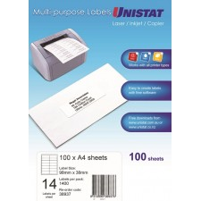 Unistat Copier/Laser 14 Up Label 98X38 (38937) -1400 Labels