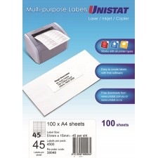 Unistat Laser/Inkjet/Copier 45 Up 51X15 Label - 4500 Labels